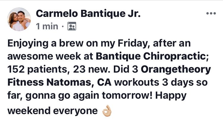 Enjoying a brew on my Friday, after an awesome week at Bantique Chiropractic; 152 patients, 23 new. Did 3 Orangetheory Fitness Natomas, CA workouts 3 days so far, gonna go again tomorrow. Happy weekend everyone